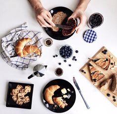 Pretty breakfast flat lay.