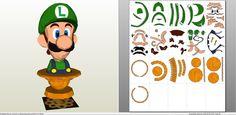 Papercraft .pdo file template for Super Mario - Luigi Bust.