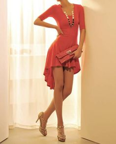 Charming Scoop Neck Solid Color Short Sleeves Swallowtailed Asymmetrical Dress For WomenCasual Dresses   RoseGal.com