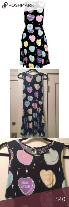 KILLSTAR No Sweetheart Skater Dress 💘 Black KILLSTAR skater dress with anti-valentine candy heart pattern. It's a bit of a faded black, which was how the dress came originally. Super soft material. Only worn 2x. It does have some pilling throughout (detail shown in 4th image). Size medium. Feel free to ask any further questions or make an offer via the offer button below 👇 KILLSTAR Dresses Mini