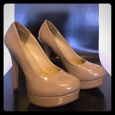 """Chinese Laundry tan patent leather pumps USED- Good condition, minor damage, tan patent leather, size 8, 5"""" heel Chinese Laundry Shoes Heels"""