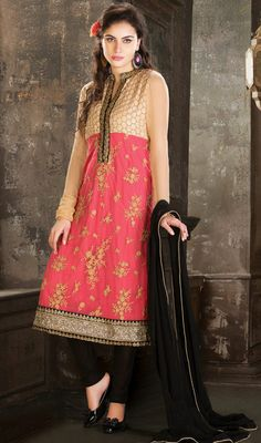 Beige and Salmon Georgette Churidar Suit Price: Usa Dollar $276, British UK Pound £161, Euro204, Canada CA$296 , Indian Rs14904.