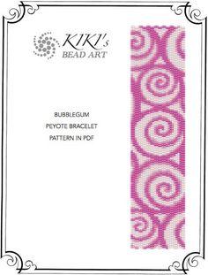 Pattern, peyote bracelet - Bubblegum swirl patterned peyote bracelet pattern in PDF instant download