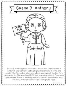 susan b anthony coloring page - pippi longstocking novel unit study activities book