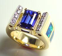 opal inlay with tanzinite