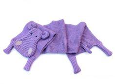 #hipposcarf #animalscarf #woolenscarf #longscarf violet purple