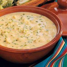 CREAM OF CAULIFLOWER green onion, butter, flour, chicken broth, cauliflower, milk, cheddar, chives
