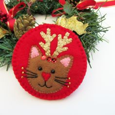 cat with antlers christmas tree felt ornament decoration, cat lover gift, christmas cat decor, ready to ship Antler Christmas Tree, Pink Christmas Ornaments, Cat Christmas Ornaments, Christmas Craft Fair, Felt Christmas Decorations, Christmas Sewing, Christmas Cats, Felt Ornaments, Beaded Ornaments