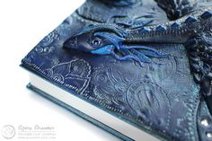 Polymer clay covered Azure Dragon diary by MyMandarinDucky on Etsy.