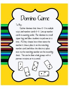 Domino Math Game for Numbers 0-5
