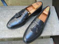 JOHNSTON & MURPHY Used Black Leather Dress Loafers 8.5 M