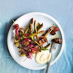Portuguese beef skewers with chorizo & pickled asparagus