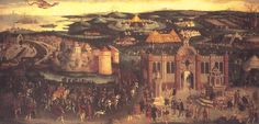 The Field of the Cloth of Gold, 1520. This painting commemorates the historic meeting between Henry and King Francis I of France. Henry's figure can be seen riding to the left, wearing a vivid red and gold outfit.