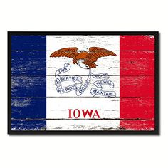 Iowa State Flag Canvas Print Black Picture Frame Gift Ideas Home Decor Wall Art Decoration -- Continue to the product at the image link.
