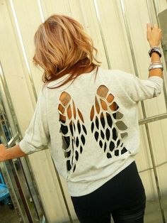 Angel wings; cut out sweater