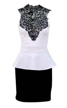 Lace Neck Peplum Dress                                                                               front view