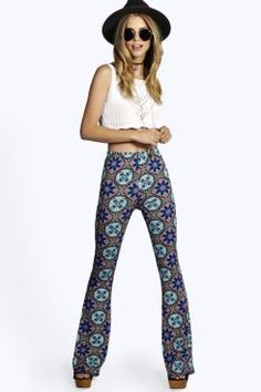 Sarah Skinny Leg Ethnic Tile Print Trousers at boohoo.com