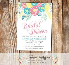 Pink Ice Blue Light Yellow Flowers Modern Bridal Shower invitation - no color changes - wedding shower - Floral Bridal Shower invitation by NotableAffairs