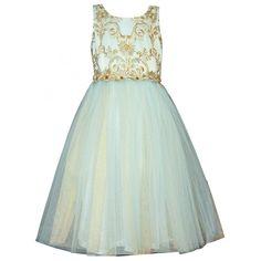 Bonnie Jean Little Girls Aqua Gold Embroidered Elegant Christmas Dress 4-6X