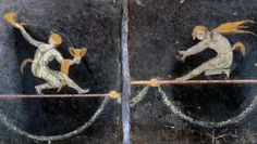 Roman fresco featuring two satyrs tightrope-walking from the villa of Cicero at Pompeii.