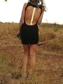 Black Sleeveless Sequined Backless Club Dress