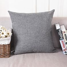 Home Brilliant Decorative Linen Square Throw Pillow Cases Cushion Covers for Kids 18x18 Dark Grey ** Click image for more details.