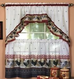 Rooster Kitchen Curtain Set