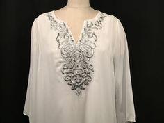 Mark Zunino Women's Sheer Large Boho Tunic Blouse White Silver Detail Flowing #MarkZunino #Tunic #EveningOccasion