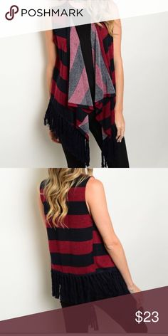 |NEW| Striped Fringe Vest A perfect for fall navy and red striped sleeveless vesy with navy fringe detail at the bottom. Boho style length. Let me know if you would like a separate listing or bundle and I will gladly set one up for you! ❣ xoxo Boutique  Tops Blouses