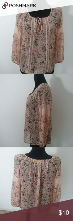 Vera Wang Pink Floral Shirt This long/half sleeve shirt is sheer and can be paired with a inner top. Bow on the neck can be untied and styled as desired. Like new. Vera Wang Tops Tunics