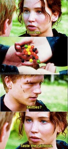 """Taste the rainbow, Peeta."" I think Katniss has had a little too much morphling, don't you think?"