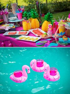 Summer pool party themed bridal shower with pineapple decor and pool flamingos. Had I seen this, I might have actually had a bridal shower.