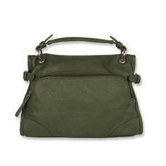 Bolsa de couro verde quadrada