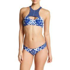 Rip Curl Fairweather High Neck Bikini Top ($25) ❤ liked on Polyvore featuring swimwear, bikinis, bikini tops, nav, high neck tankini top, racerback bikini top, swim suit tops, cut-out bikinis and high neck swimsuit top