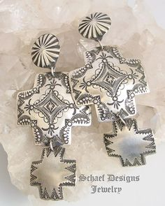 Vincent Platero VJP Hand stamped sterling silver double square cross & rosette post earrings | | Schaef Designs Southwestern & Equine Jewelry | New Mexico