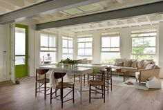 Andra Birkerts Design   New England Beach House   Dining and Living Room