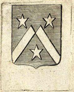 """ex-libris aux armes de la famille Bermen de la Martinière, vers 1716. """"D'azur à un chevron brisé d'or, accompagné de trois étoiles de même""""."""