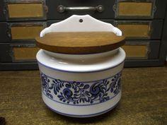 Vintage Ceramic Pottery Salt Cellar Box with wooden lid