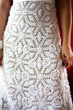 Crocheted wedding gown pattern.