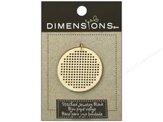 """Dimensions Wood Blanks have been designed with a grid of holes so you can cross-stitch on them. Circle Large 1pc- Blank wood circle with a grid of 15x15 holes(at its widest point) perfect for stitching 10 count designs. Gives you instructions for a pattern. Measures approximately 1 5/8""""."""