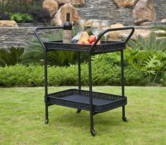 Wicker Lane ORI002-D Wicker Serving Cart, Black by Wicker Lane. $124.99. 4 wheels make moving the cart easy. Easy to clean. Durable steel frame. 2 storage shelves. Wrapped in all weather resin wicker. This all weather Wicker Serving Cart from Wicker Lane is durable and built to withstand the outdoor elements. The frame of this cart is made of steel which is covered by a resin wicker which, unlike traditional wicker, will not dry out, crack or absorb wa