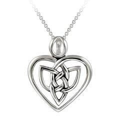 "Sterling Silver Celtic Heart Pendant Necklace, 18"""