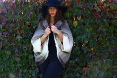 Rusk & Finch Fringe Wool Blanket Poncho 70s by ShudderEmporium