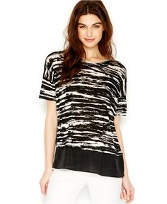 kensie Short-Sleeve Knit Top - Tops - Women - Macy's