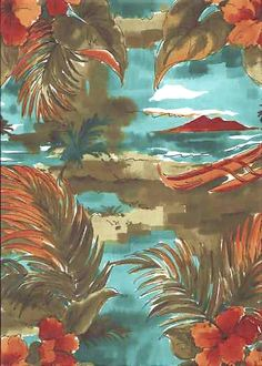 80noi Tropical Hawaiian Diamond Head, Hula Huts and canoes on a gray cotton apparel fabric.  See more fabrics at: BarkclothHawaii.com