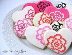 Flower Brights Stencil Hearts Valentine's Day Sugar Cookies. $29.99, via Etsy.
