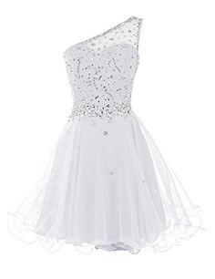 Short One Shoulder Prom Dresses Tulle Homecoming Dress with Beads Short Graduation Dresses, Cheap Homecoming Dresses, Cheap Dresses, Short Dresses, Pageant Dresses, One Shoulder Prom Dress, One Shoulder Cocktail Dress, Cocktail Dress Prom, Beaded Prom Dress
