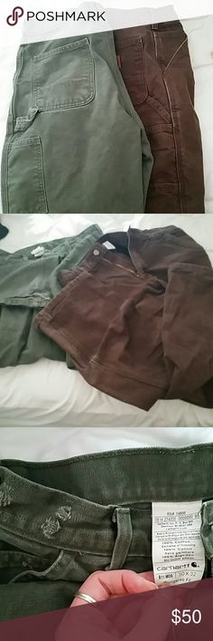 Men's 30/32 carhartt work pants 2 pair Two pairs of good condition carhartt work pants one chocolate brown and one sage green both in good condition one he distressed the waistband. Carhartt Pants