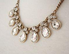 Silver / Antique-bronze Clear Jewel Crystal por AnneEmmaJewelry