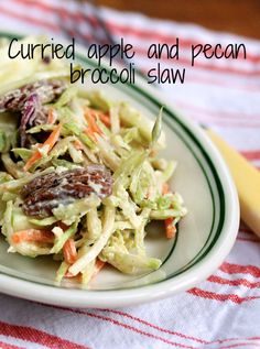 Curried apple and pecan broccoli slaw salad. Perfect for summer barbecues, or for Thanksgiving.